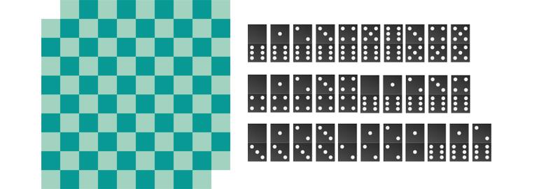 Шахматная доска и кости домино